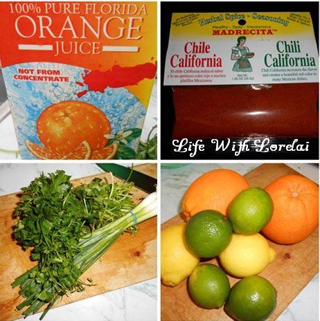 Citrus Chili Cilantro Marinade Ingredients