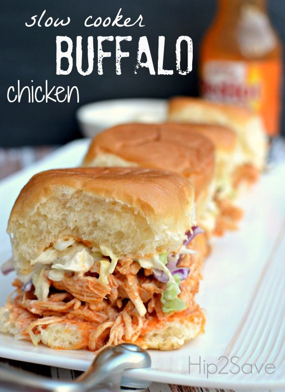 Slow Cooker Shredded Buffalo Chicken Sliders - Hip2Save