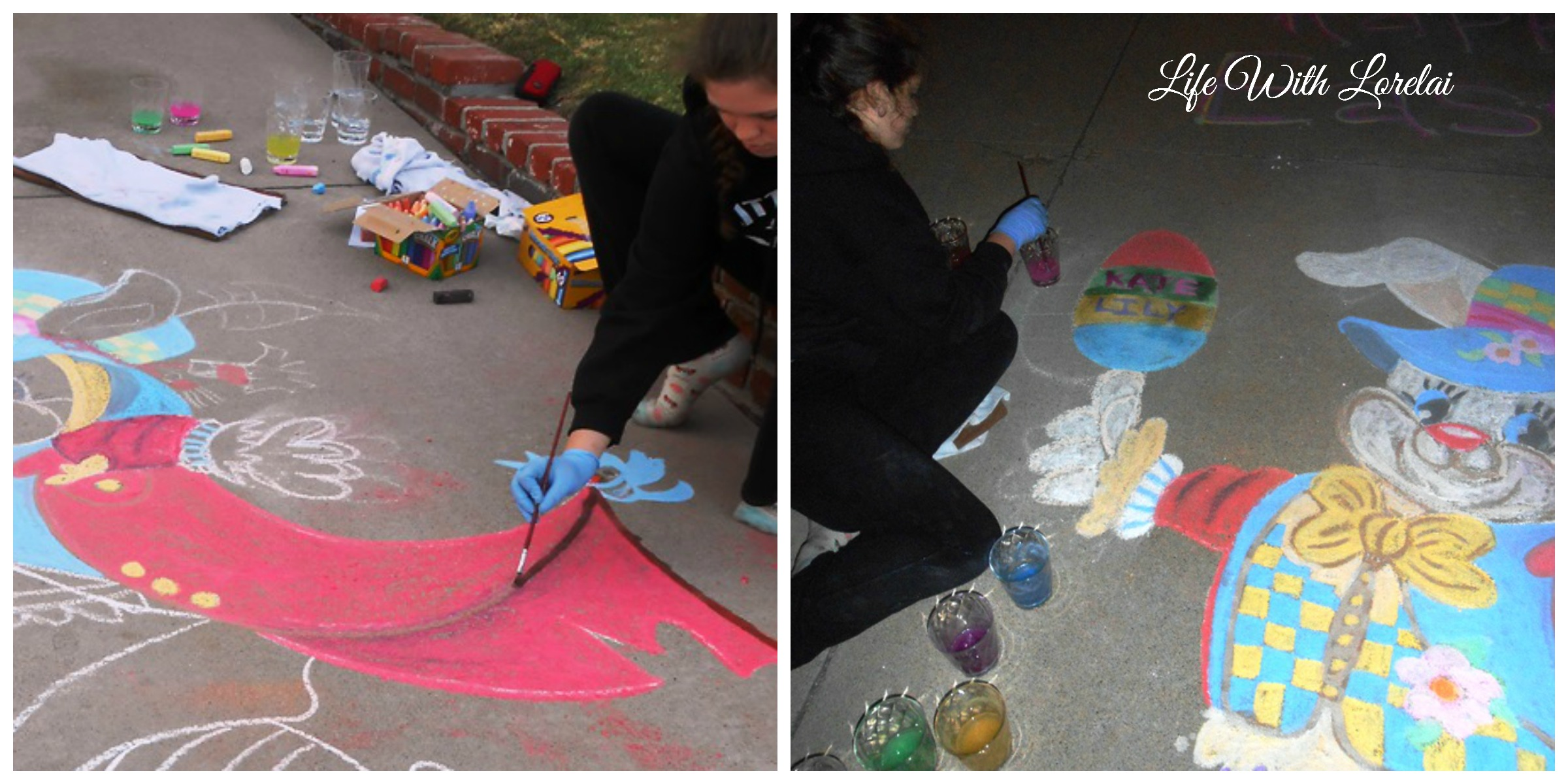 Water Painting the Chalk Art