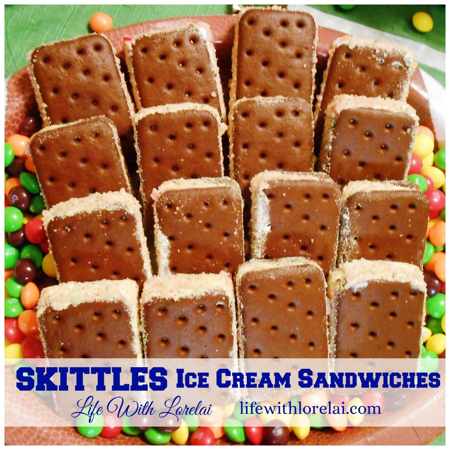 Skittles Ice Cream Sandwiches - A delicious treat with a fruity punch!