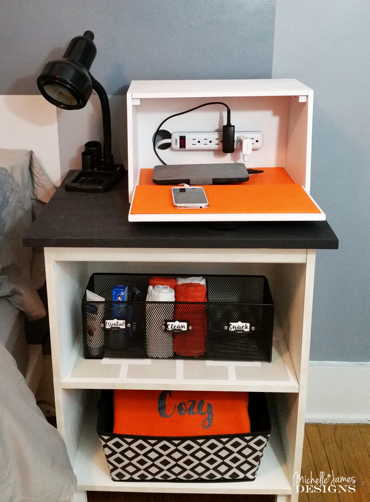 Turn an old bread box into a Guest Room Charging Station