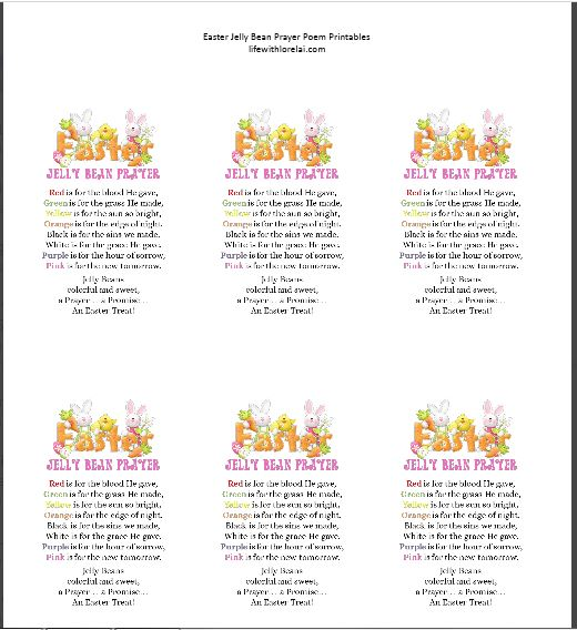 Easter Jelly Bean Prayer Poem Printable Preview