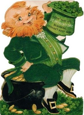 Leprechaun sitting on pot of gold