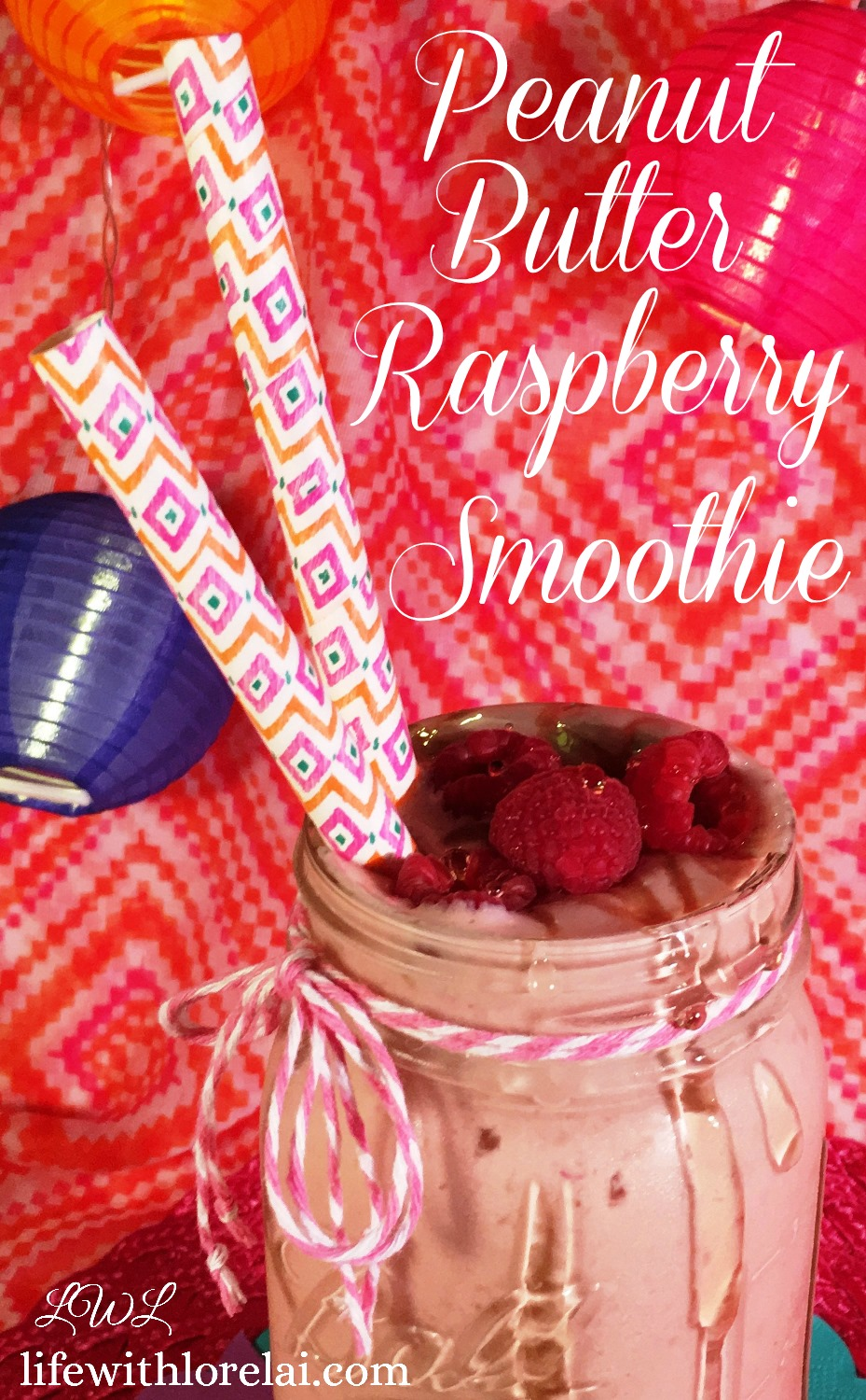 Peanut Butter Raspberry Smoothie Recipe - Perfect for breakfast, snack, or work-out.