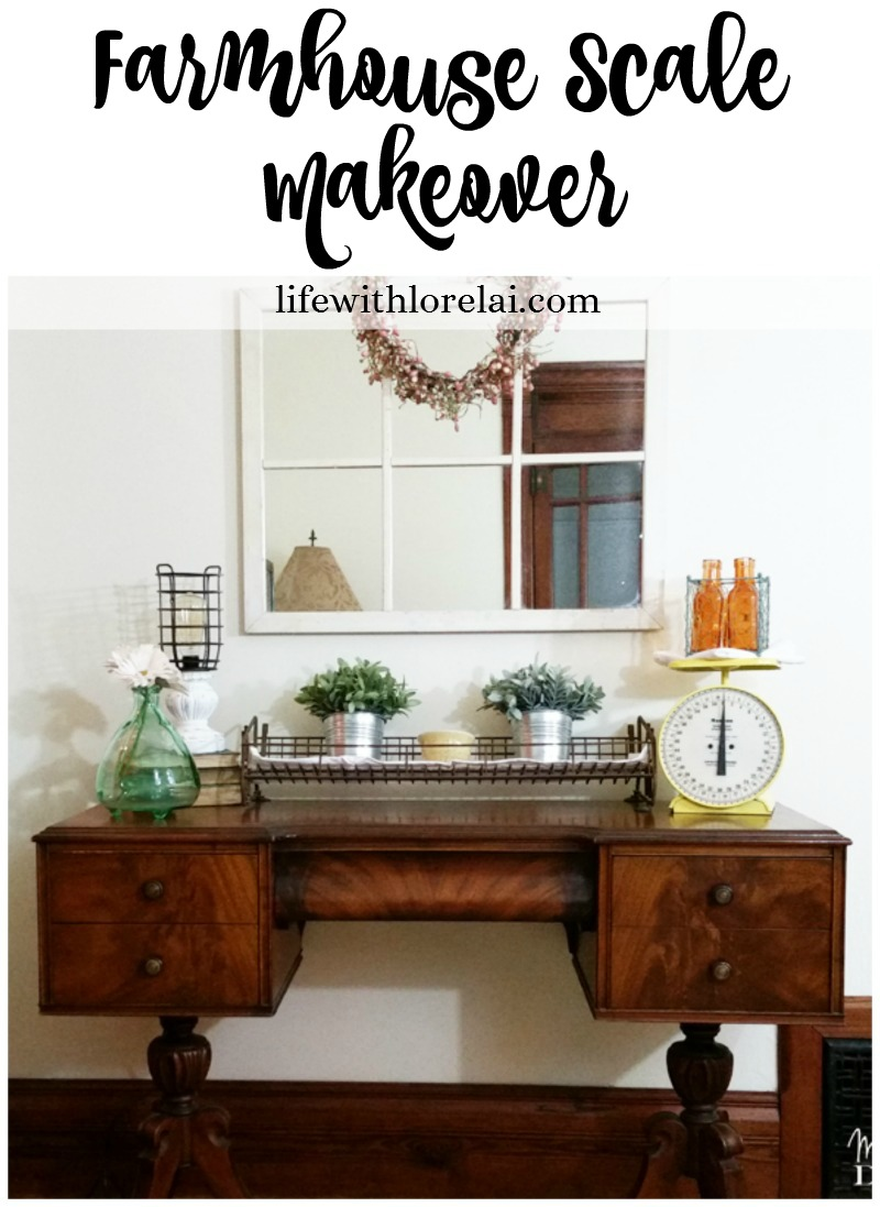 Give your home decor a little farmhouse style with this scale makeover. An easy DIY project. Update the old treasures in your home.