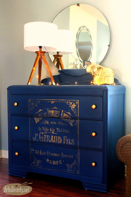 Bohemian Blue Painted Vintage Dresser with French Graphic - ArtisBeauty - HMLP 109 Feature
