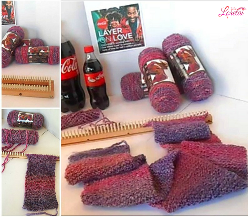 A step-by-step video tutorial on how to loom knit a scarf. An easy project for yourself, as a gift, or to donate. Layer On Love with Coca-Cola and One Warm Coat®. Pay it Forward, Random Act of Kindness. AD