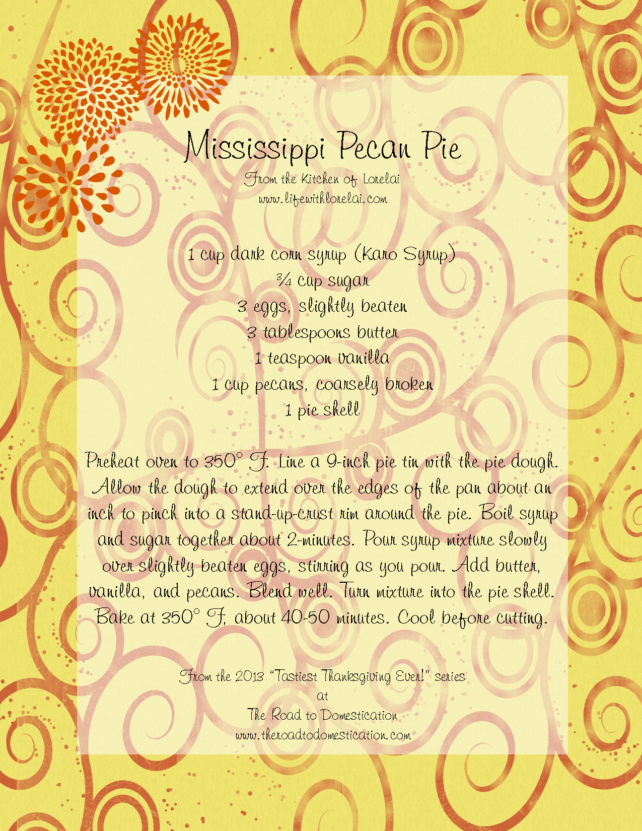 Mississippi Pecan Pie - Decorative Printable Recipe | Life With Lorelai