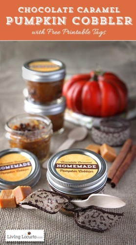 Mason Jar Chocolate Pumpkin Cobbler Free Printable Tags | Life With Lorelai - lifewithlorelai.com