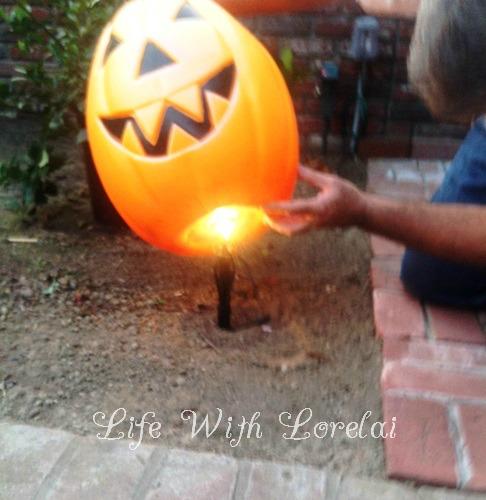Place the pumpkin over the Malibu light - Life With Lorelai