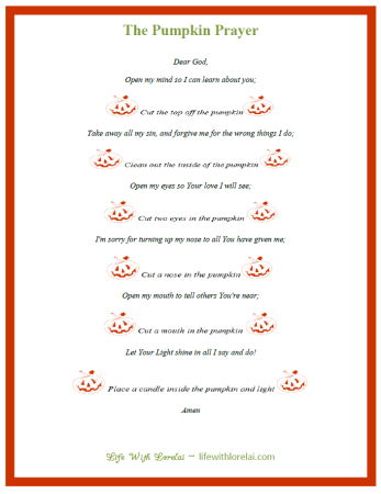 Pumpkin Prayer Printable PDF Preview - Life With Lorelai - lifewithlorelai.com