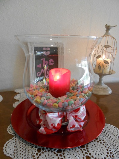 Conversation Heart Glass and Candle Centerpiece