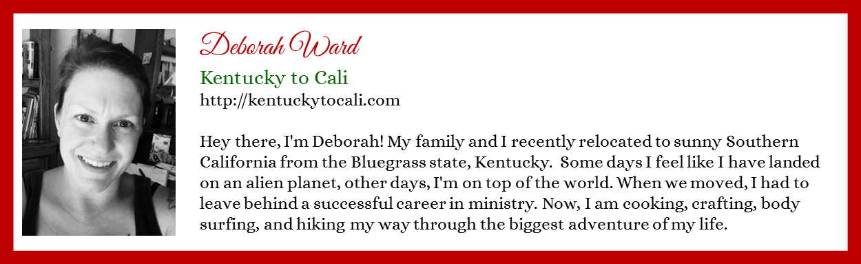 Deborah Ward - Kentucky to Cali - Contributor Bio Graphic - Christmas 2015