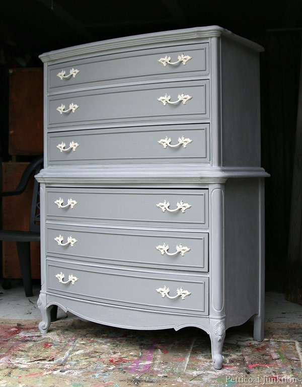 Gray Painted Furniture with Spray Painted Hardware - Petticoat Junktion - HMLP 74 - Feature