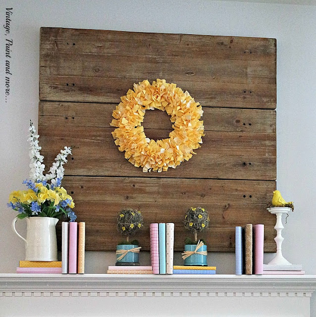 Pastel Spring Mantel Done With Books - Vintage, Paint and More - HMLP 80 - Feature
