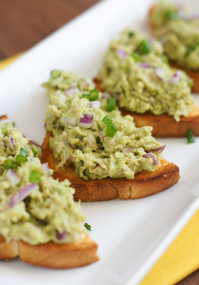 Tuna Avocado Tostadas - Smart Little Cookie