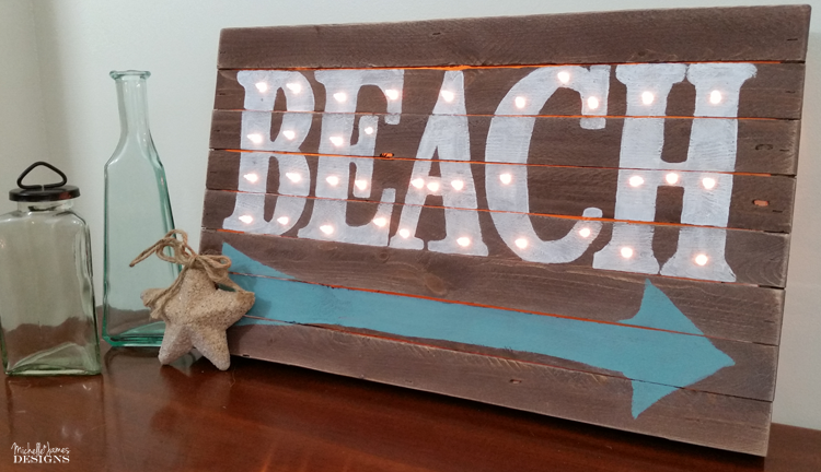 Bring the beach to your home with this light-up wooden marquee sign DIY.