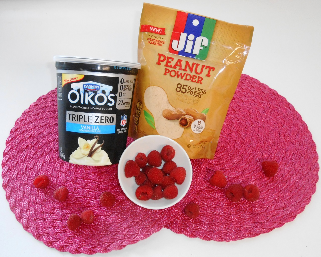 Oikos-Triple-Zero-Greek-Nonfat-Yogurt-Jif-Peanut-Powder-Raspberries-Ibotta