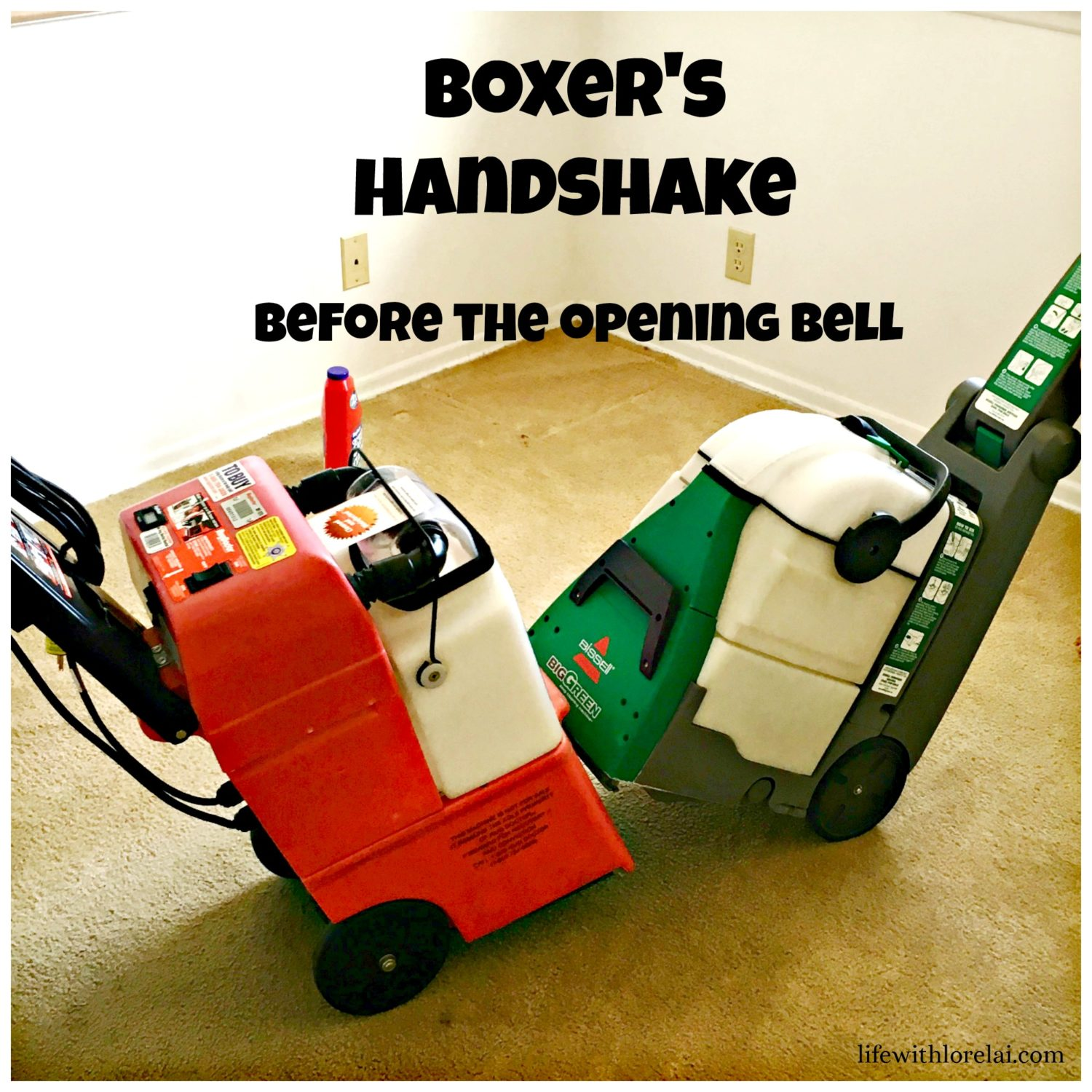 Boxer's-Handshake-Before-Opening-Bell-BISSELL-Big-Green-Rug-Doctor