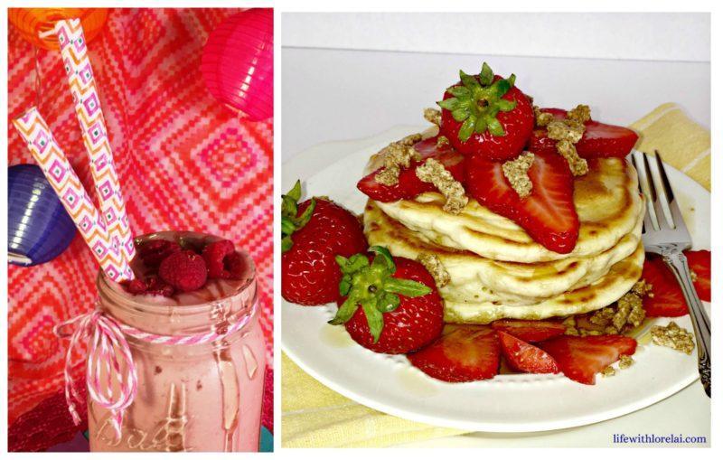 Breakfast-peanut-butter-raspberry-smoothie-cracklin-oat-bran-pancakes-brunch-morning-routines