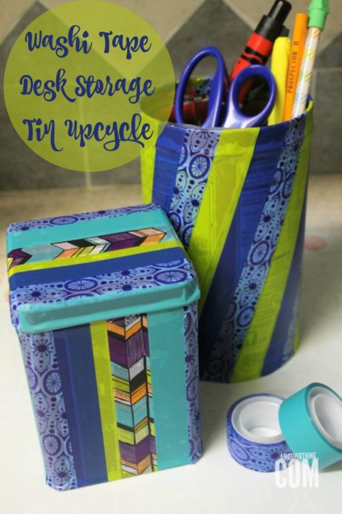 Washi Tape Desk Storage Tin Upcycle - It's a Mother Thing - HMLP 94 - Feature