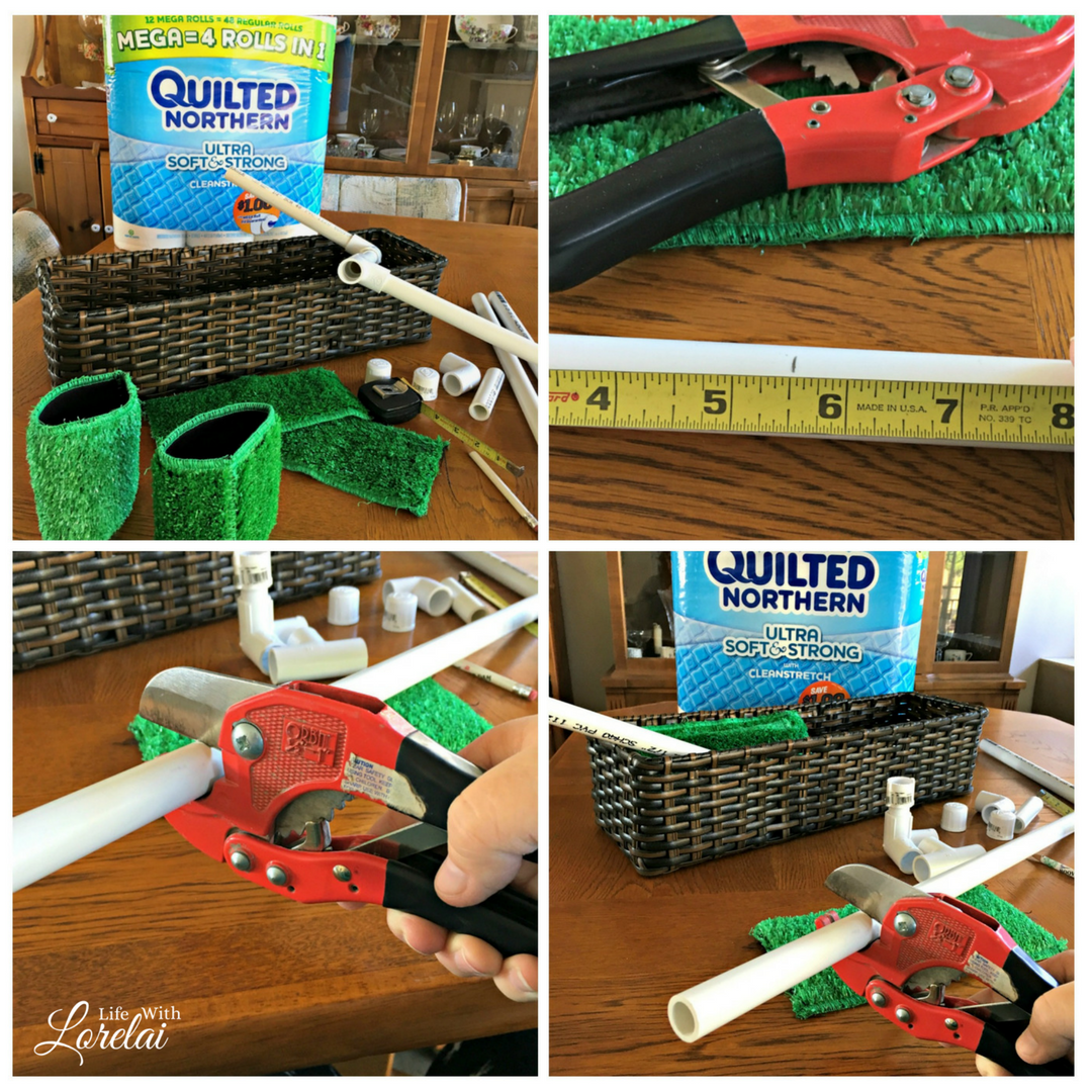 Give your bathroom a mini-update with football decor for the big game. Make a DIY Football Goal Post Toilet Paper Holder that scores! AD #MegaGame