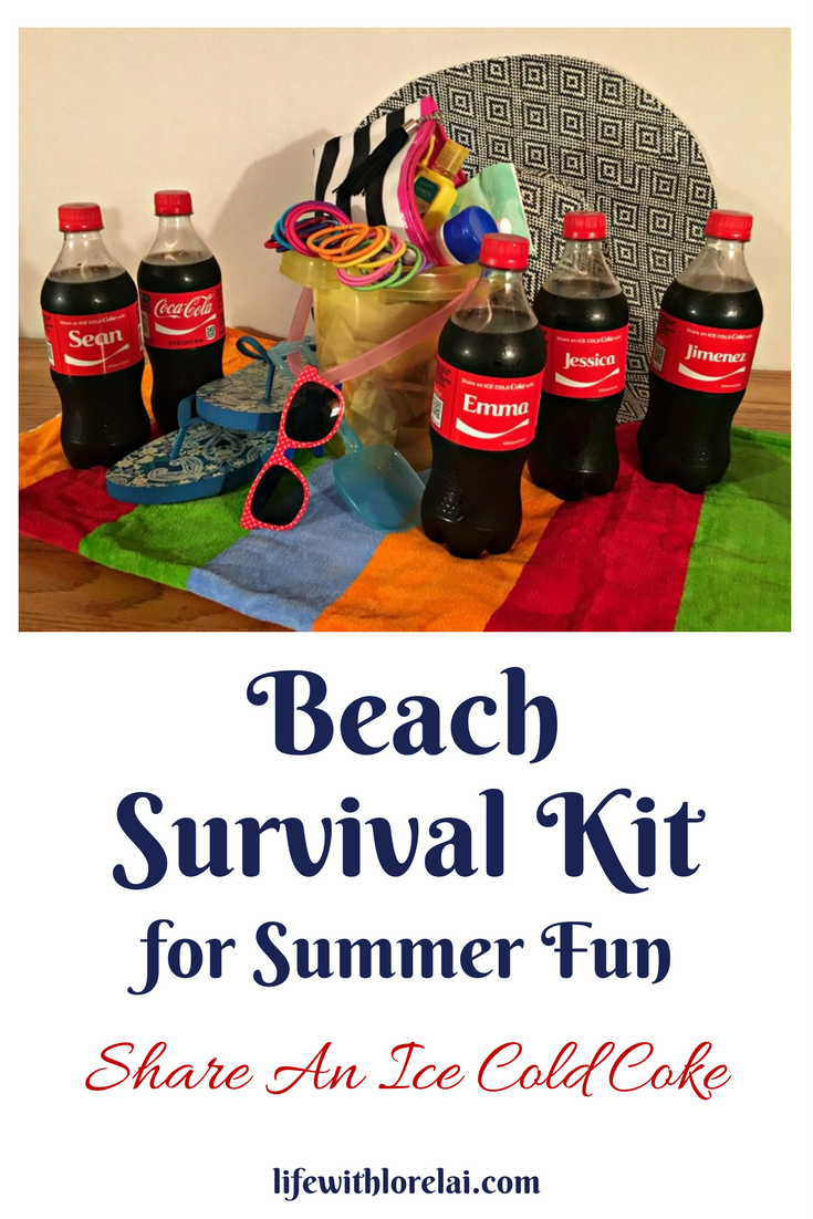Find out the must haves for a beach survival kit perfect for great summer fun and sharing an ice cold Coke with friends! #BestSummerMemories