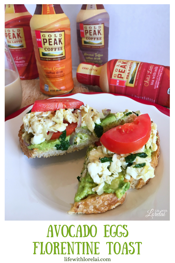 Busy schedules got your life on the run? Avocado Eggs Florentine Toast a quick and easy pick-me-up recipe for more energy and alertness. #GoldPeakLattes AD