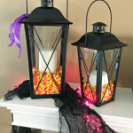 Halloween Mantel Decor Orange, Black, And Purple