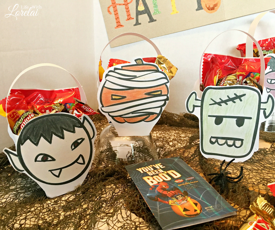 BOO it forward with these DIY Halloween candy baskets in eight fun Halloween-themed shapes. Craft your own using the free printables. #ad #BOOitForward
