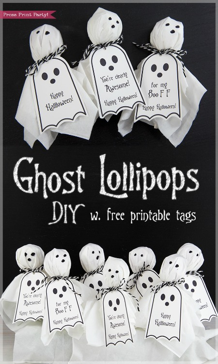 Ghost Lollipop Free Printable Tags - Press Print Party - HMLP 158 Feature