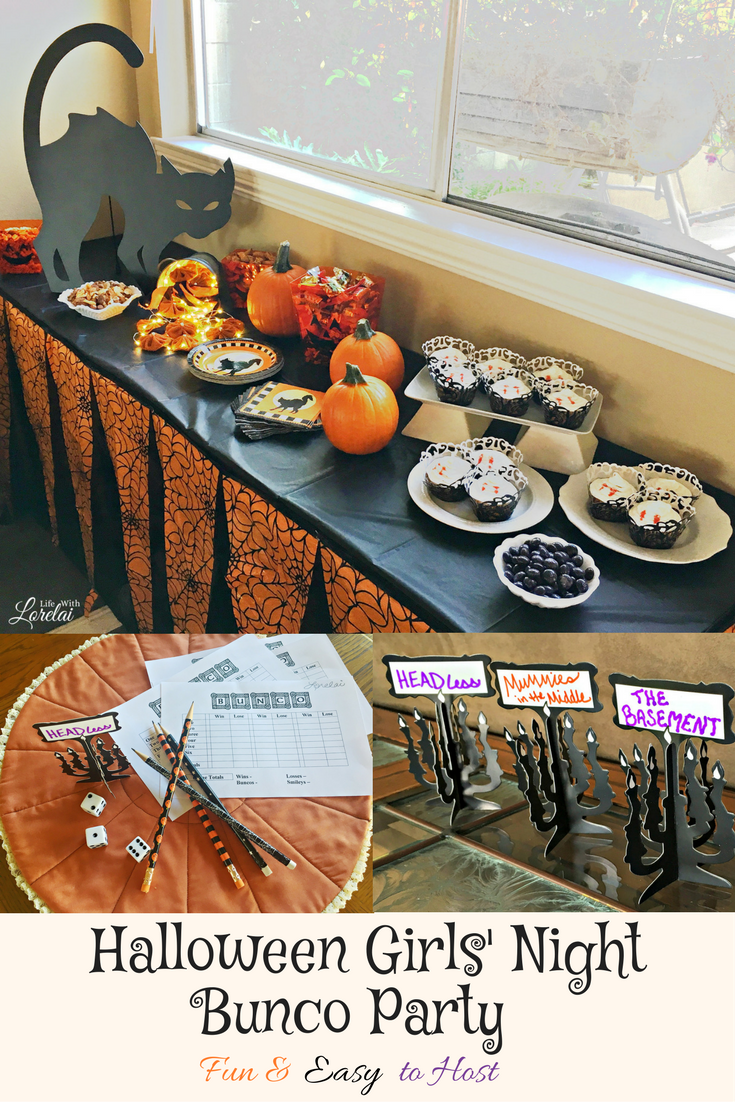 Fun and easy Halloween Girls' Night and Bunco Party. Spooktacular ideas for food and decor. Host tips, free printables, learn to play the game. PLUS, the Halloween Decor Blog Hop!