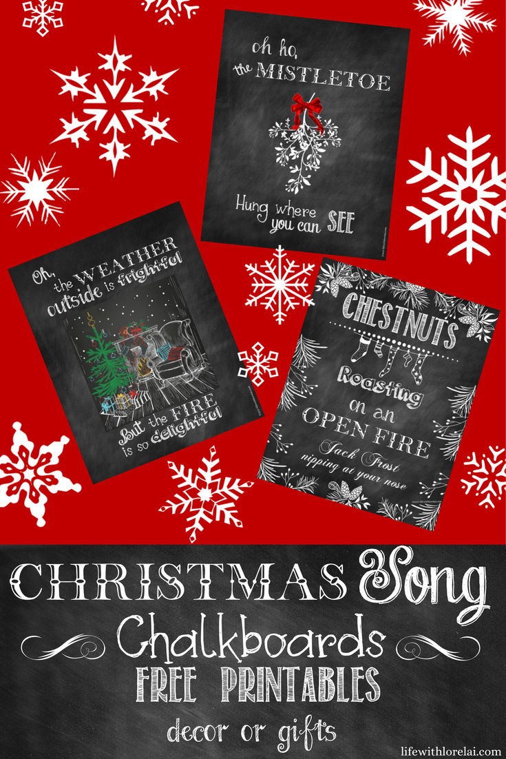 Make your holiday season merry and bright with these fun and beautiful Christmas Song Chalkboards. Free Printables are easy for decor and gift ideas.