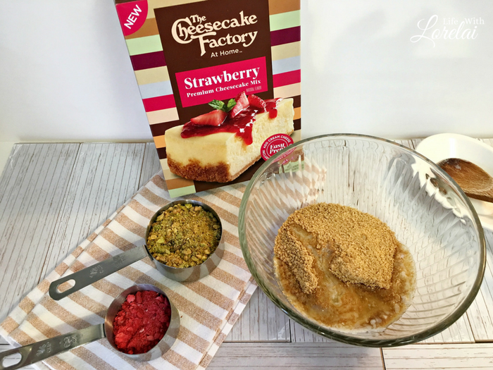 Bake the best dessert this season with The Cheesecake Factory's NEW boxed Cheesecake Mixes! Get #MyCheesecake recipe - Strawberry Pistachio Cheesecake. AD