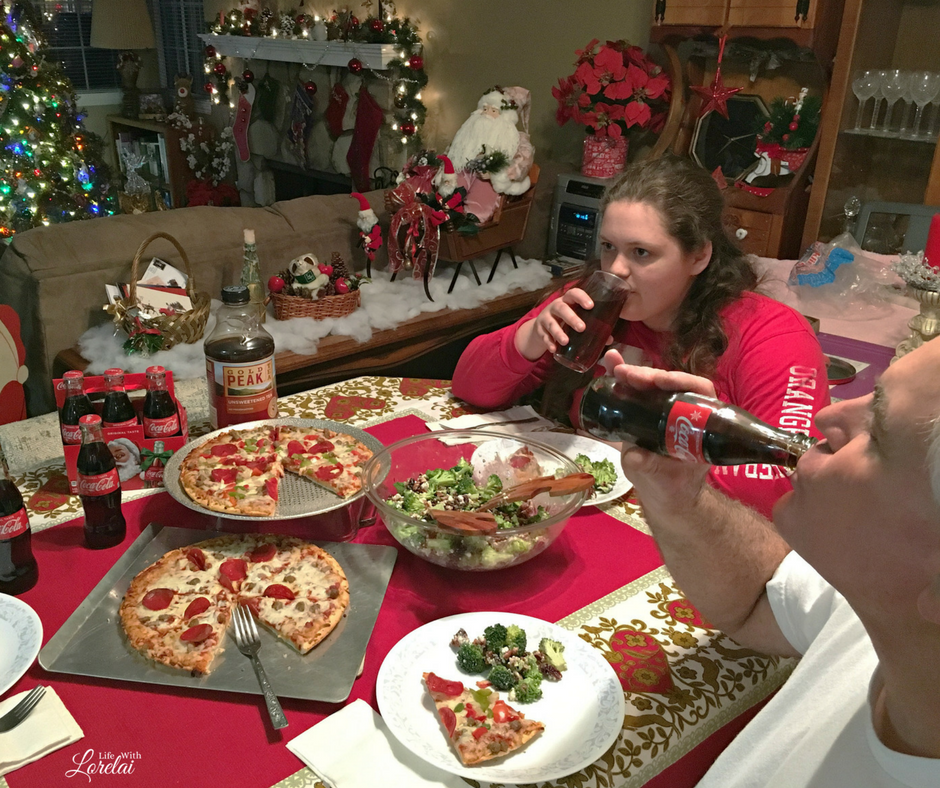 Busy holidays mean you need a quick, easy meal to satisfy your family -- Red Baron Pizza, Broccoli Salad, and Coca-Cola! Get the recipe. AD #GrabSomeCheer