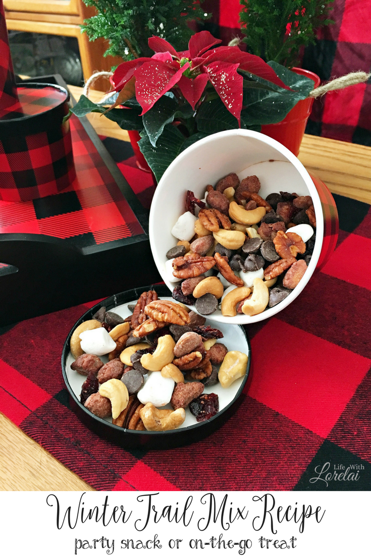 This Winter Trail Mix recipe is great not just during the holidays but all year long. Use it as a party snack or take it on-the-go. Nuts, dried fruit. AD