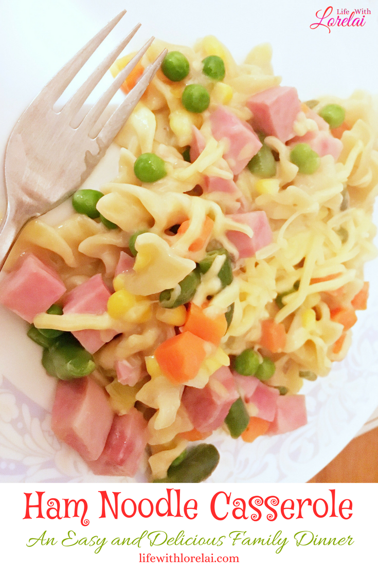 Make dinner delicious with this Ham Noodle Casserole. A perfect comfort food family meal. This recipe is quick and easy and has only six ingredients. Serve it for a busy weeknight or Sunday Supper.