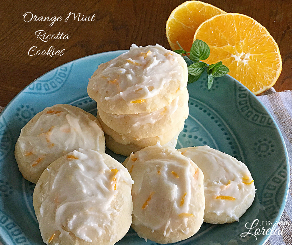 A delicious cookie full of the bright flavors of orange and a hint of mint. Orange Mint Ricotta Cookies delight and tickle your taste buds. #Cookies #Recipe