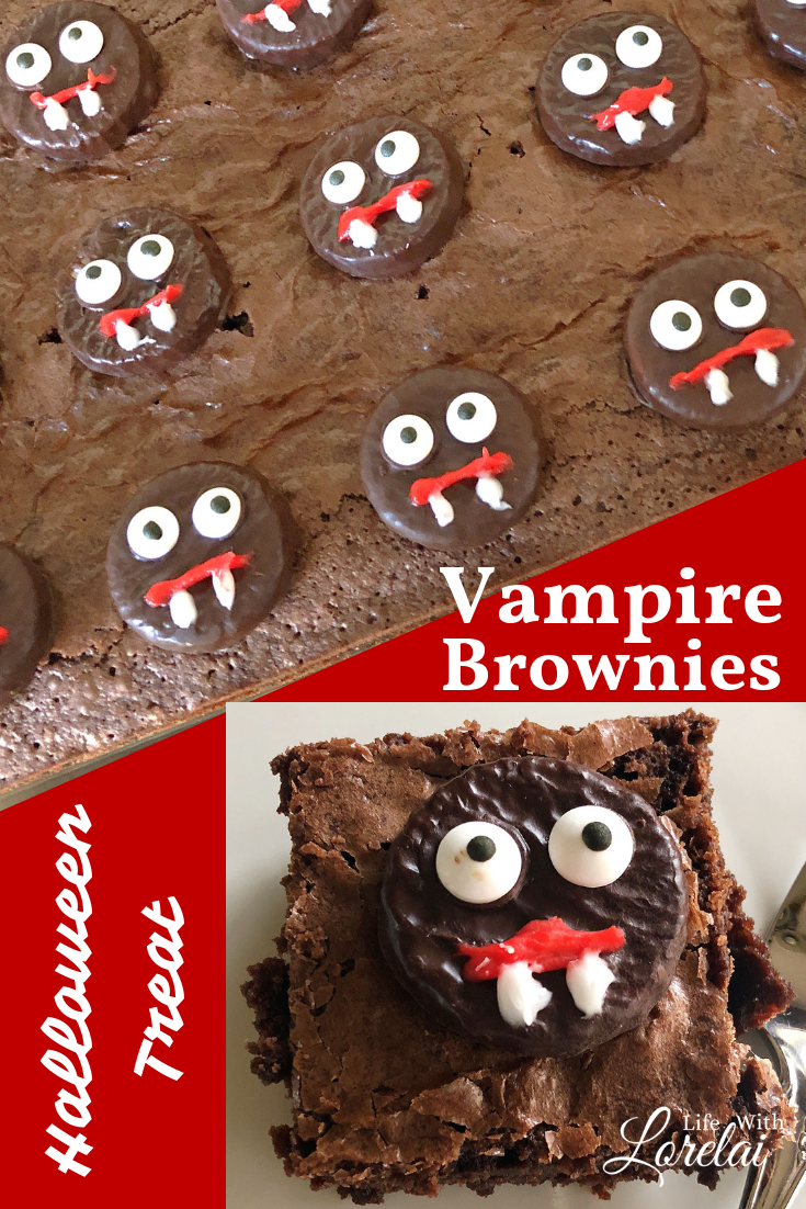 Enjoy a spooky treat this Halloween with these easy-to-make Vampire Brownies! A frightfully fun idea for any #Halloween party. #recipe #brownies #vampire