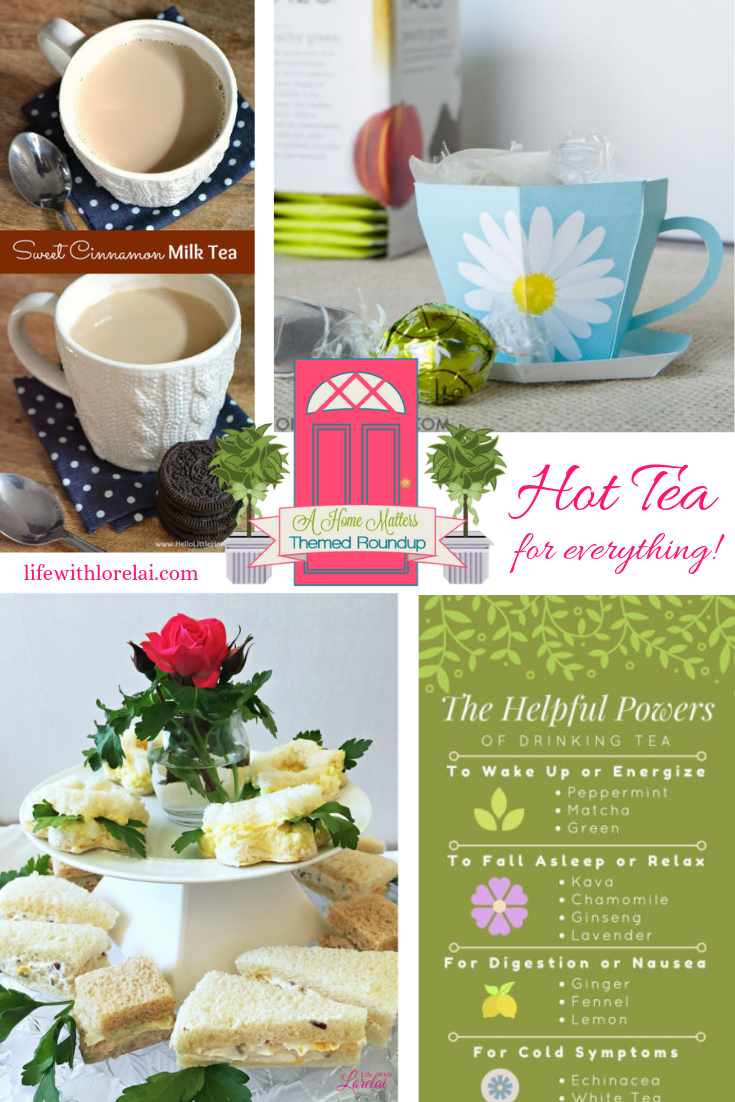 It's National Hot Tea Month. Find some great ways to use and enjoy tea. Plus, link up at Home Matters with recipe, DIY, more. #HotTea #Tea #HomeMattersParty