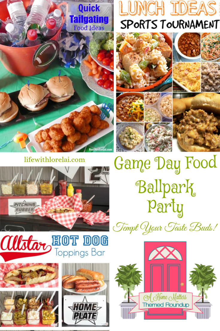 Game Day Food inspiration for summertime fun at Home Matters. Plus linkup w/ recipes, DIY, crafts, and decor #ballparkfood #gamedayrecipes #homemattersparty
