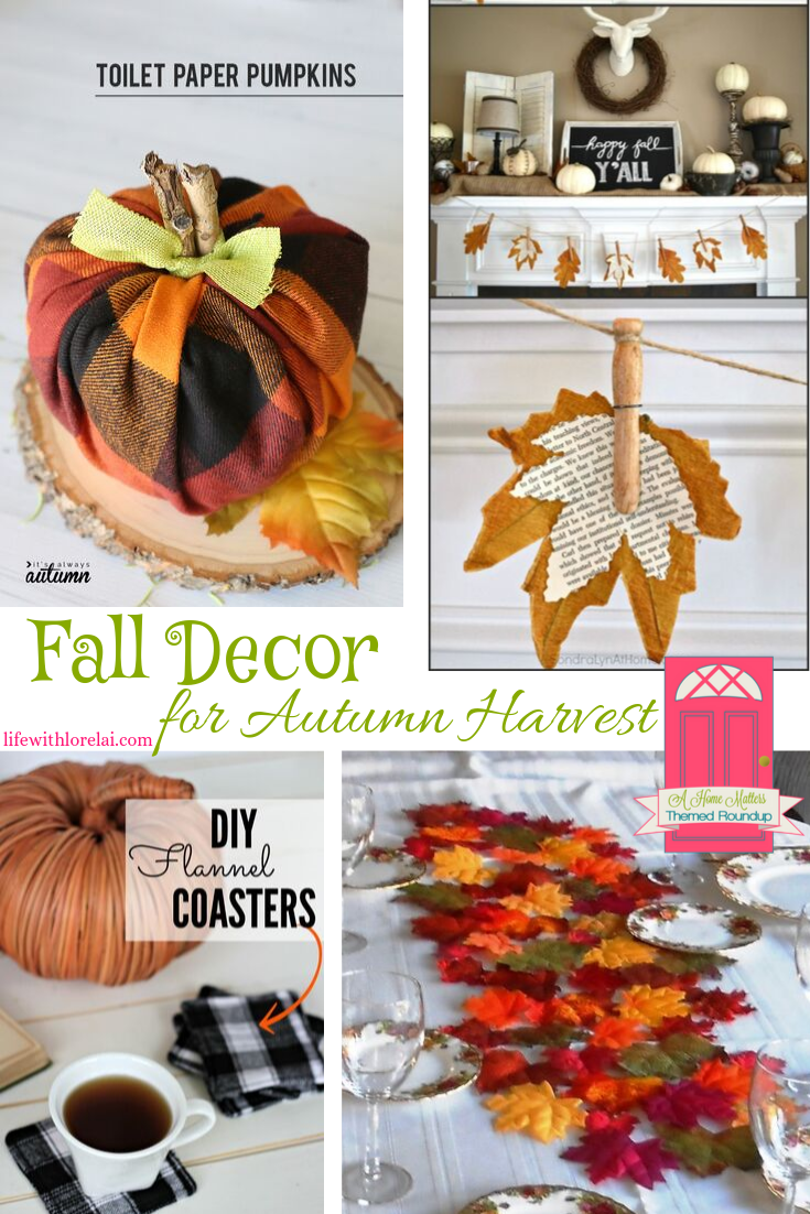Fall Decor inspiration to celebrate the autumn harvest. Linkup at Home Matters with recipes, DIY, crafts, more. #FallDecor #AutumnDecor #HomeMattersParty