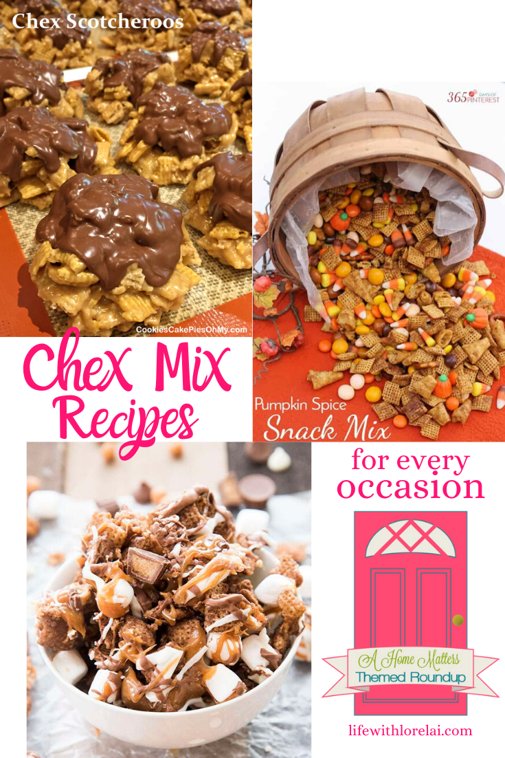 Oh, YUM! Chex Mix Recipes for every occasion. Plus, link up at Home Matters w/ recipes, DIY, decor, more. #ChexMix #ChexMixRecipes #HomeMattersParty